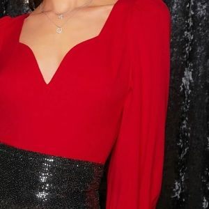Red sexy blouse.